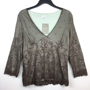 Anthropologie Odille Blouse Green Brown Lace NWT